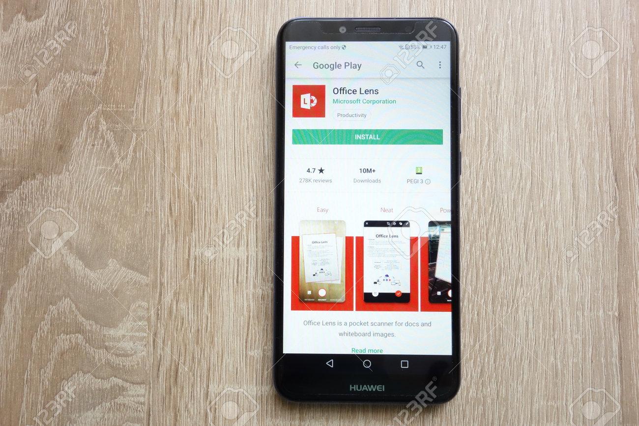 KONSKIE, POLAND - JUNE 24, 2018: Office Lens app on Google Play