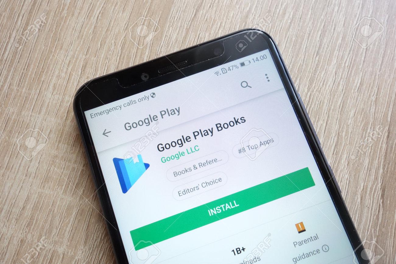 KONSKIE, POLAND - JUNE 24, 2018: Google Play Books app on Google