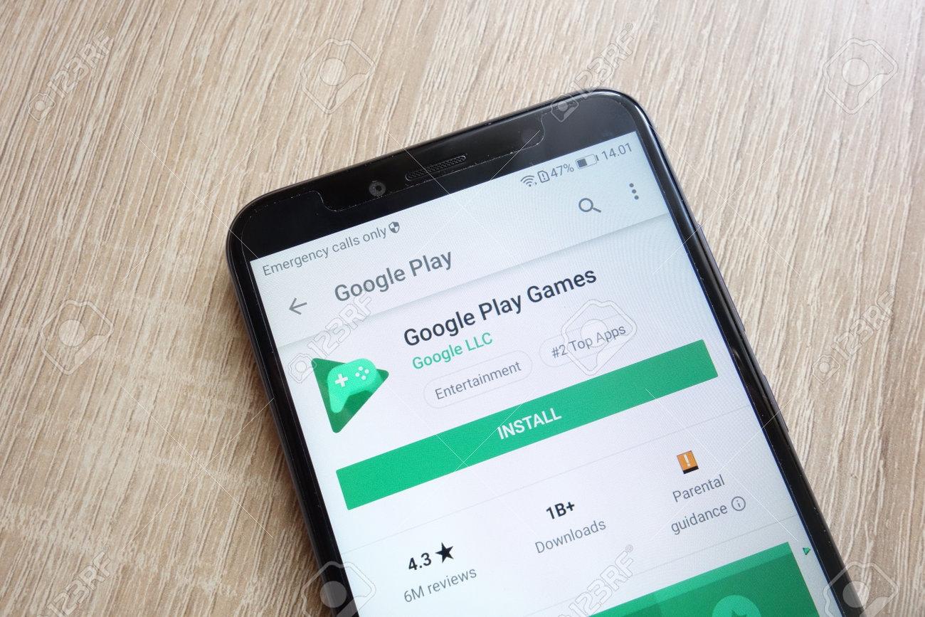 KONSKIE, POLAND - JUNE 24, 2018: Google Play Games app on Google