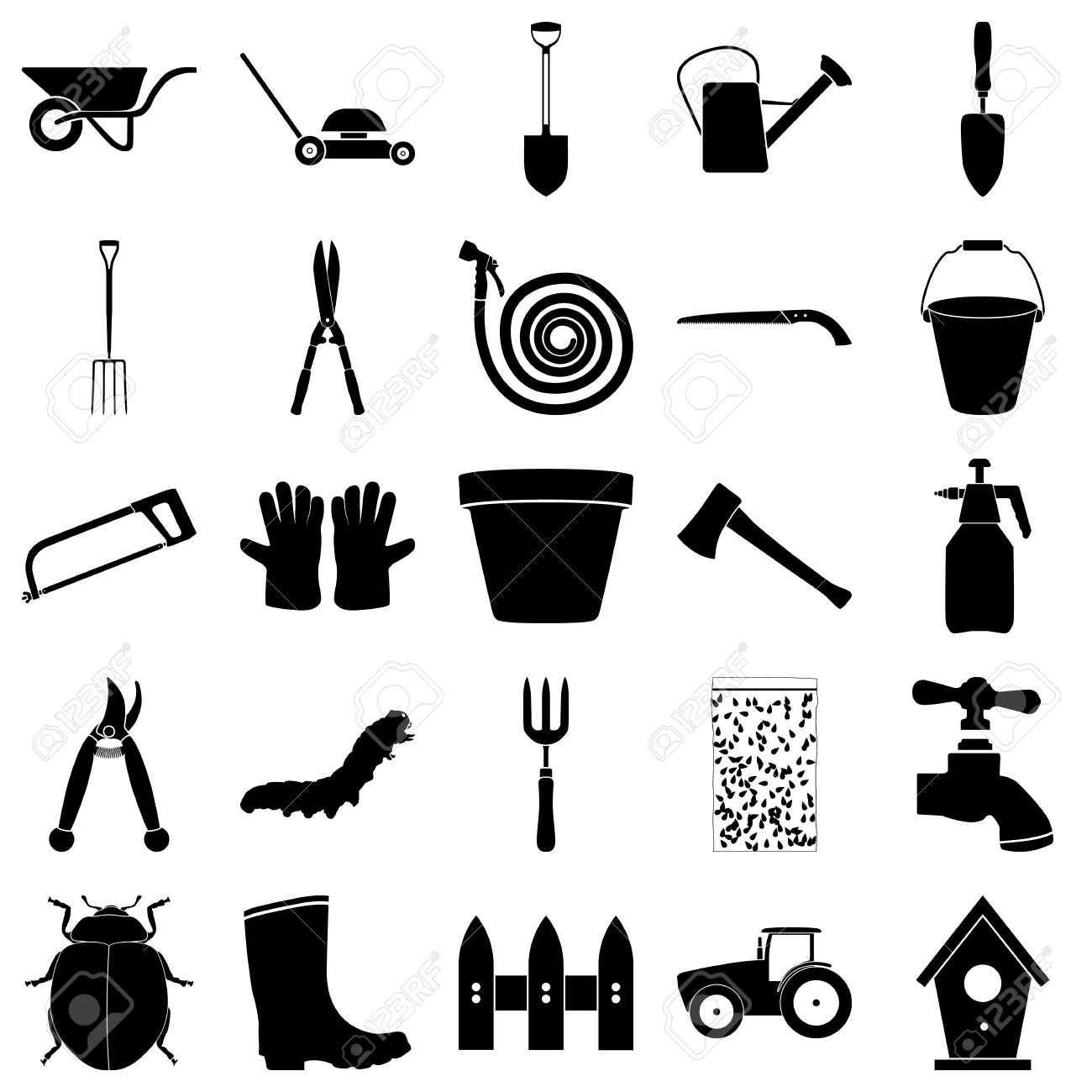 Gardening Stuff Tools Simple Icon On Colorful Round Background Stock Vector    52417052