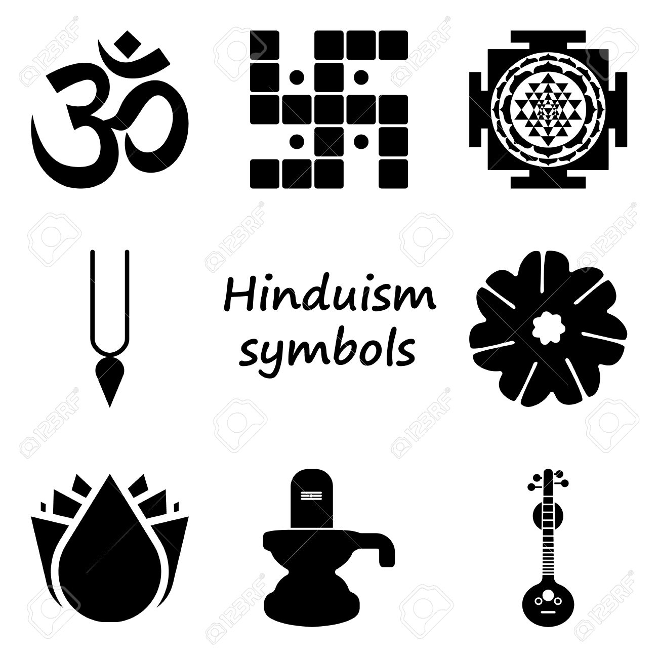 hinduism symbol sign simple icon set on background royalty free