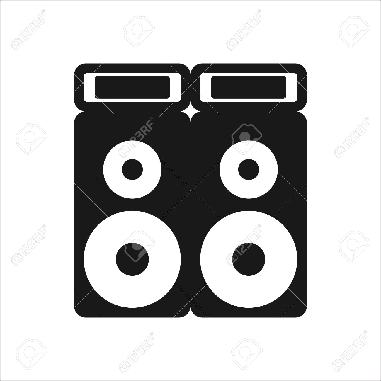 sound system clipart. festival sound system speaker sign simple icon on background stock vector - 59840287 clipart