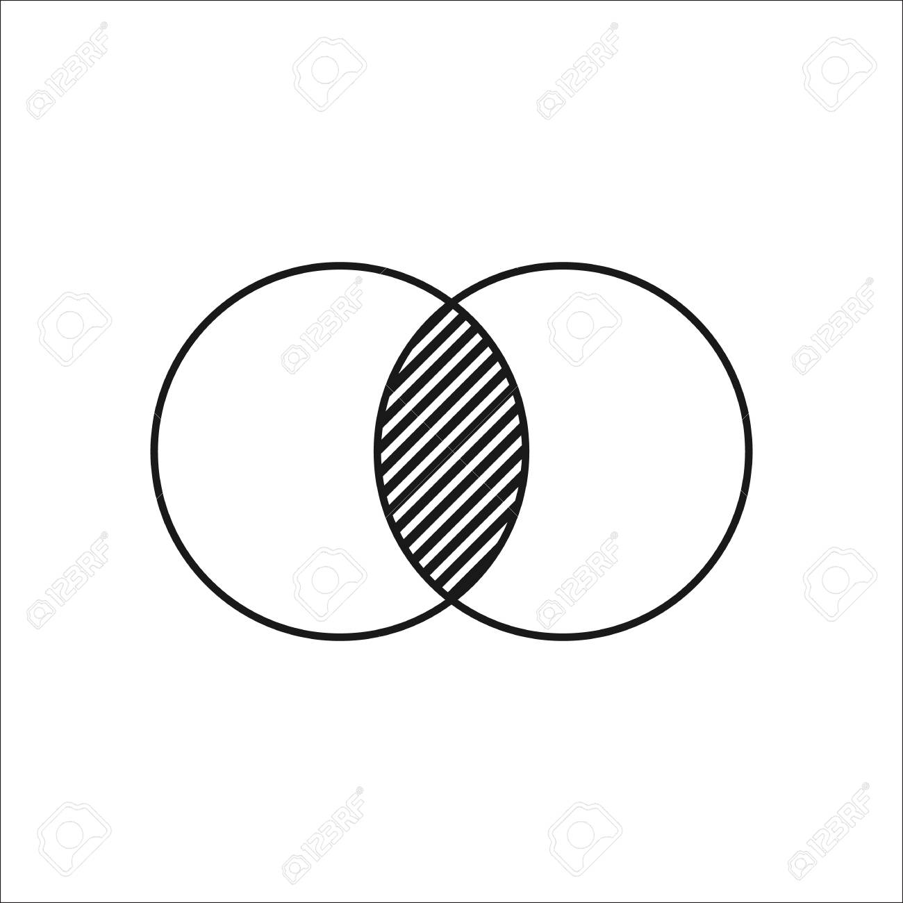 Geometry math two circles symbol sign simple icon on background