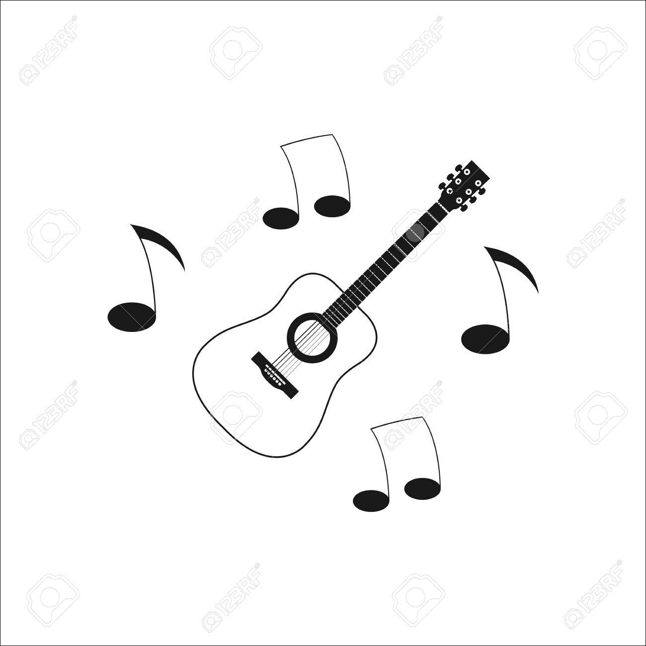 Music Guitar Musical Notes Symbol Sign Simple Icon On Background