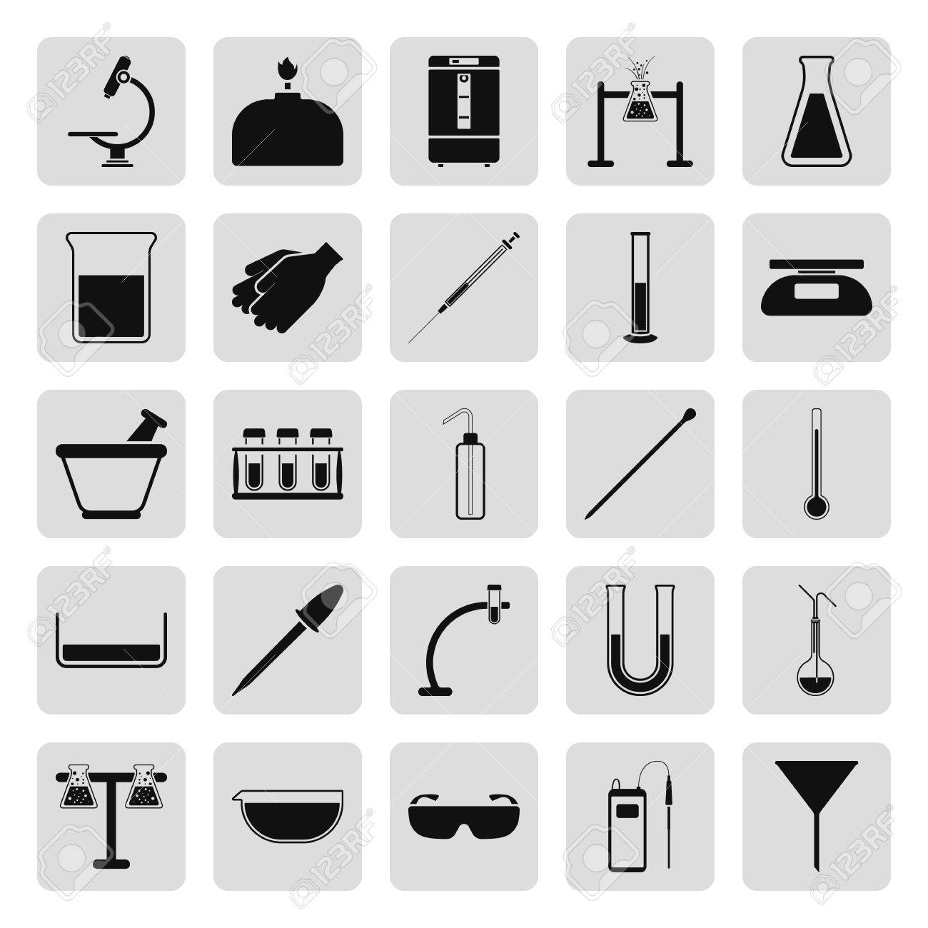 Chemical Science Lab Equipment Simple Icon Set On Background Stock Vector