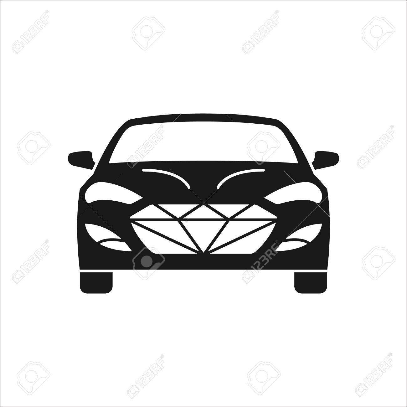 Luxury Car Front Sign Silhouette Symbol Icon On Background Royalty