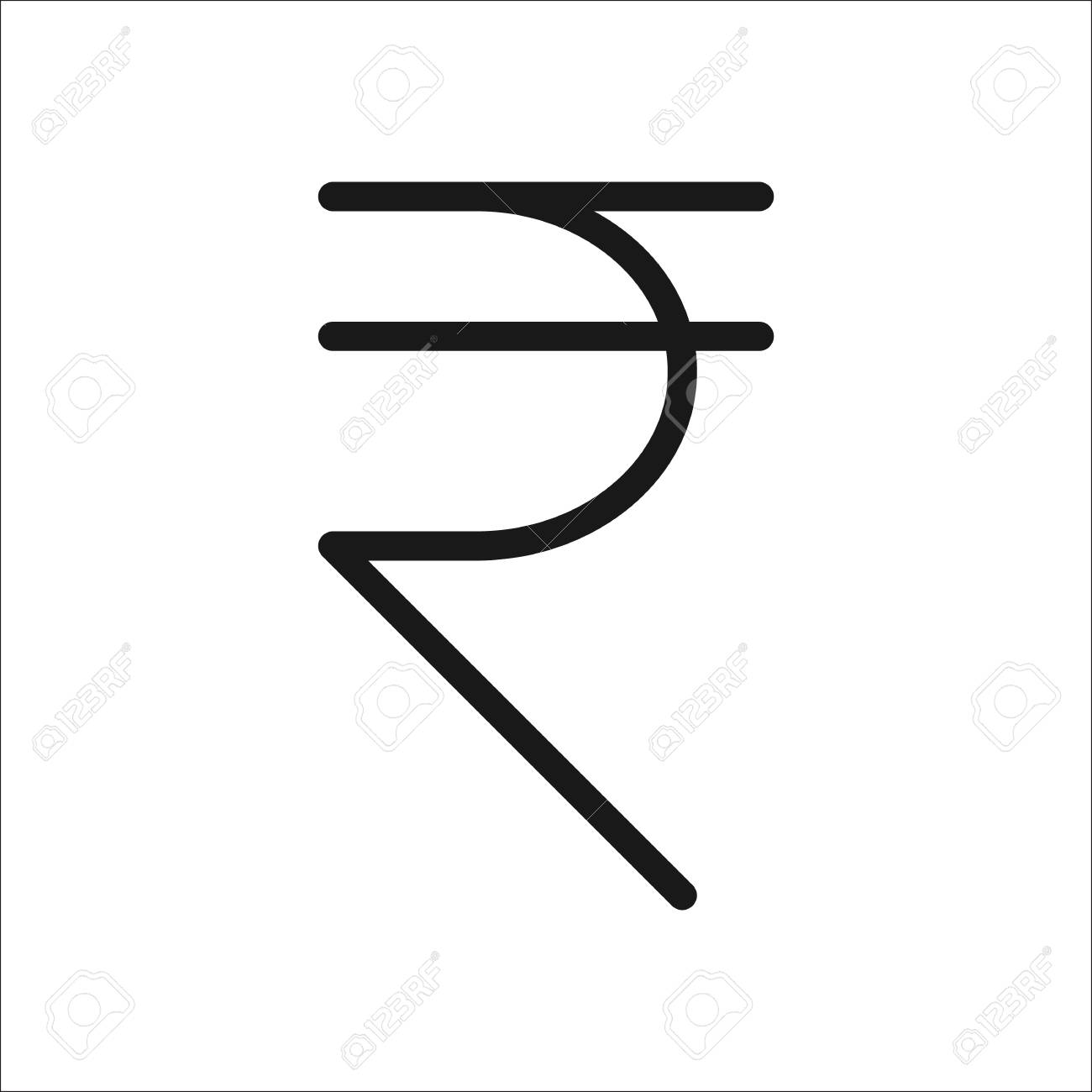 The Indian Rupee Symbol Sign Line Icon On Background Royalty Free
