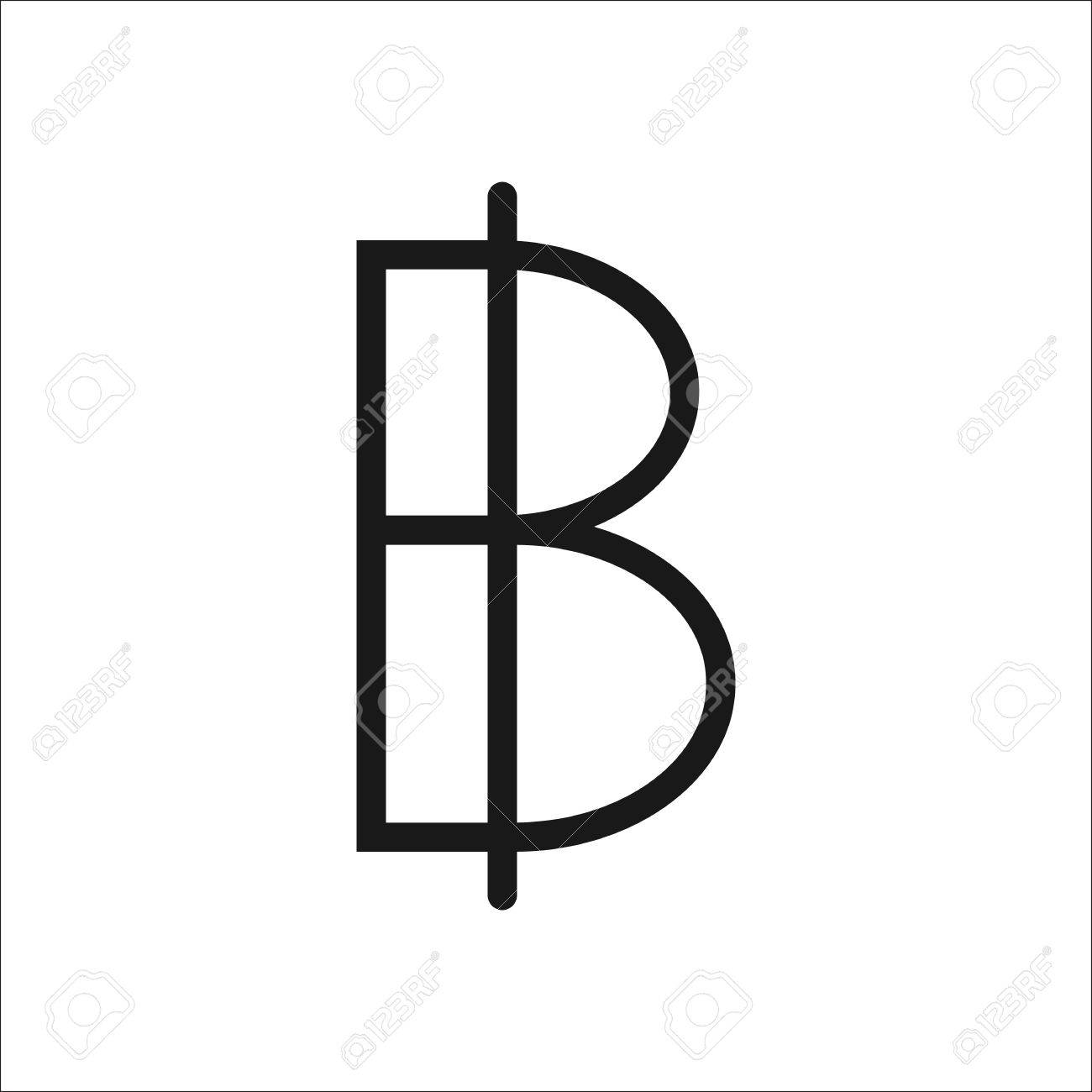 Thai Baht Symbol Sign Line Icon On Background Royalty Free Cliparts