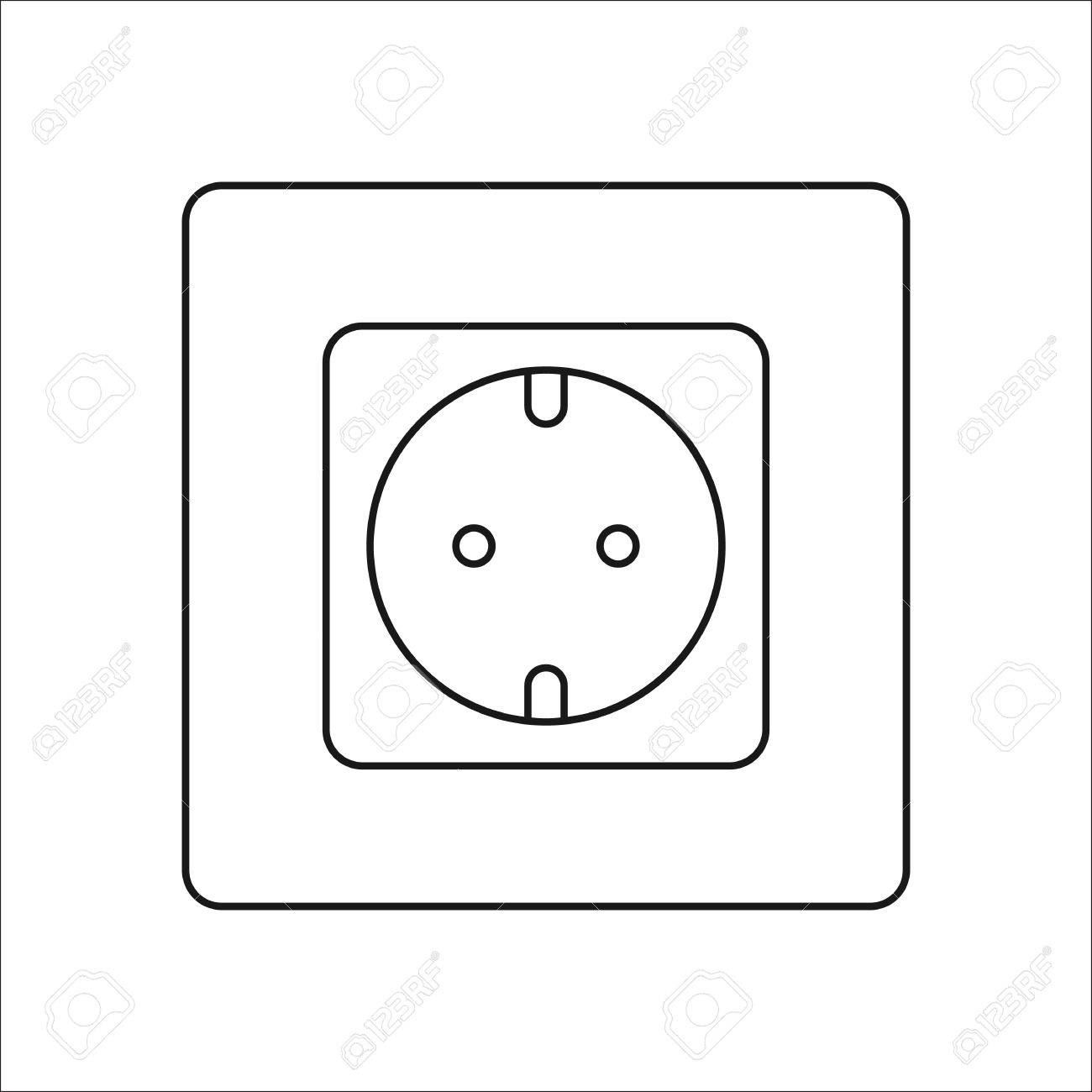 Power Socket Symbol Sign Line Icon On Background Royalty Free