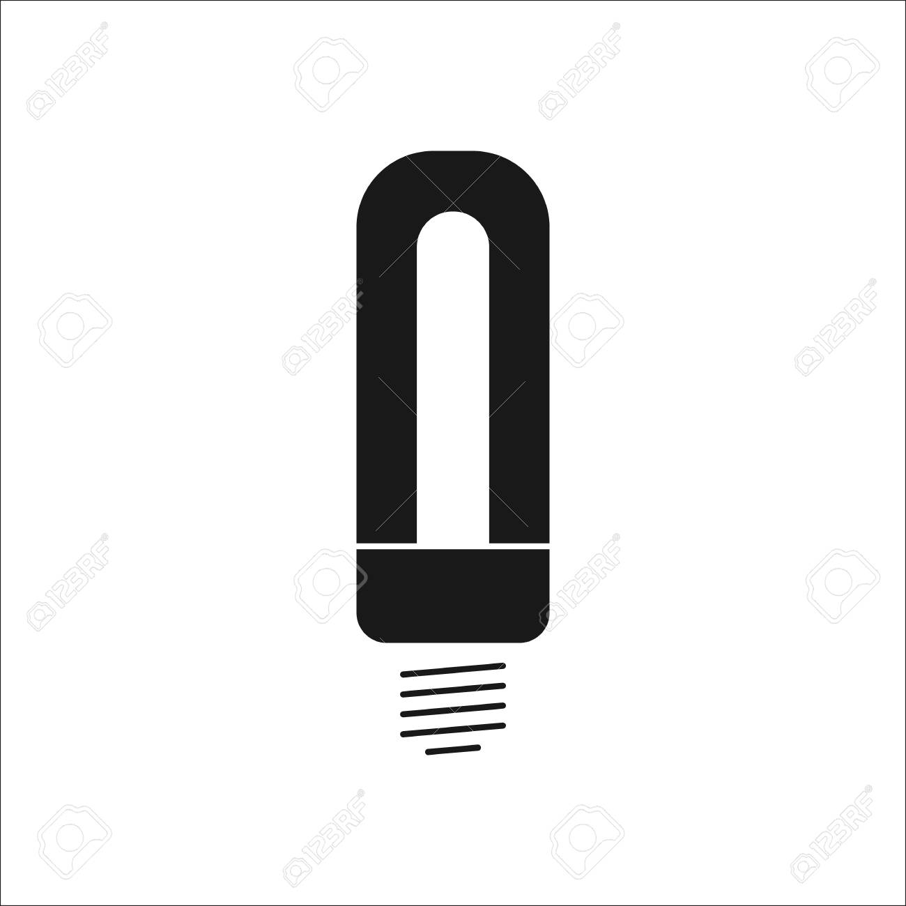 LED Energy Saving Lamp Bulb Symbol Sign Silhouette Icon On ...
