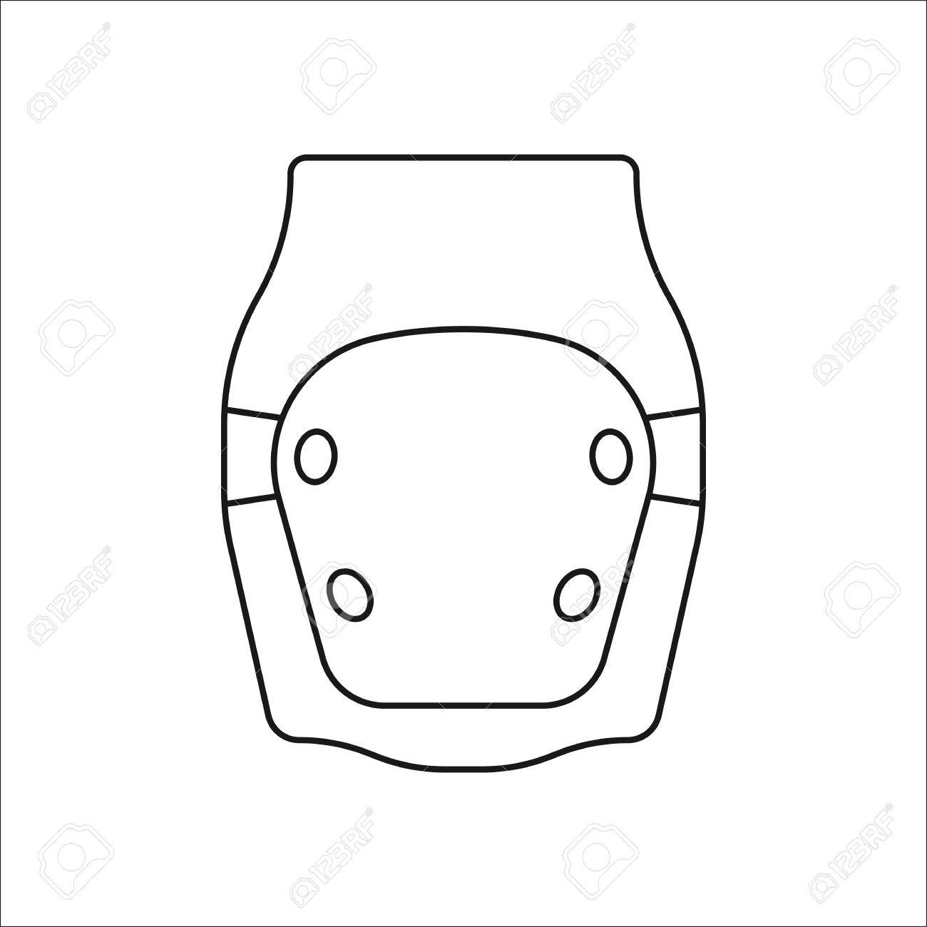Skateboard Knee Pad Or Protector Symbol Sign Line Icon On Background