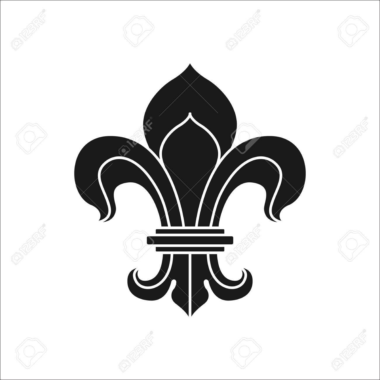 Royal Lily Or Fleur De Lis Symbol Simple Silhouette Icon On