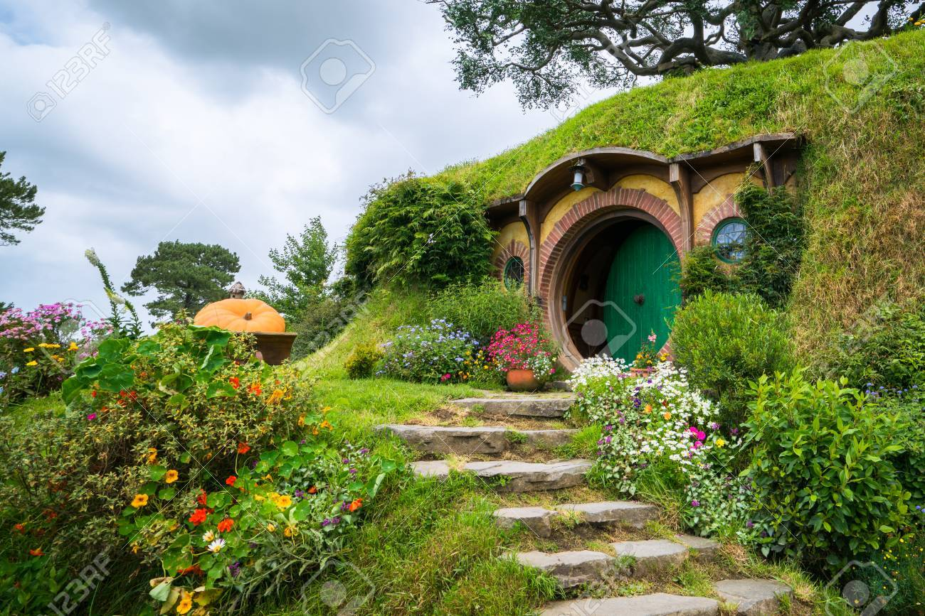 Matamata, New Zealand - Dec 11, 2016: Hobbiton movie set created for filming The Lord of the Rings and The Hobbit movies in North Island of New Zealand. It is opened for tourist who visit New Zealand. - 88514488