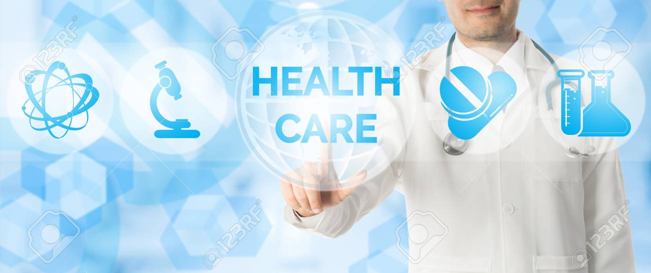 Medical Concept Doctor Points At Healthcare With Other Icons