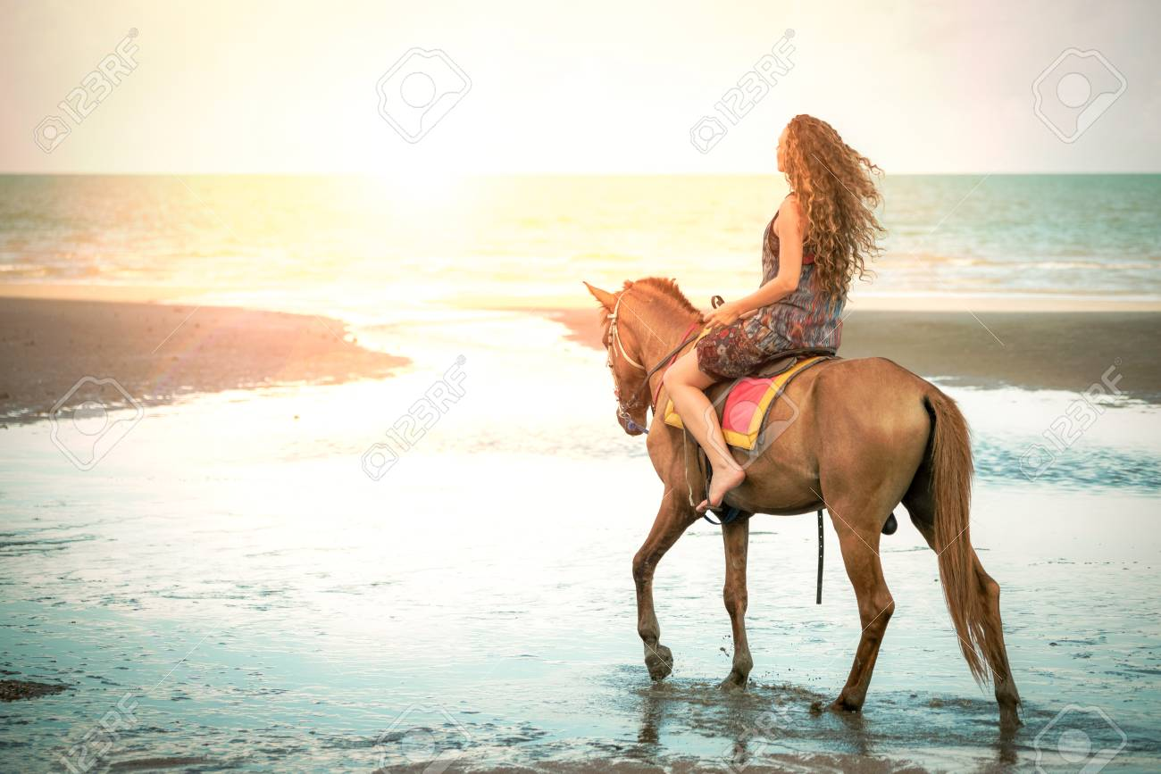 Woman Fashion Model Riding A Horse On The Beach In Summer Luxury Stock Photo Picture And Royalty Free Image Image 105392495