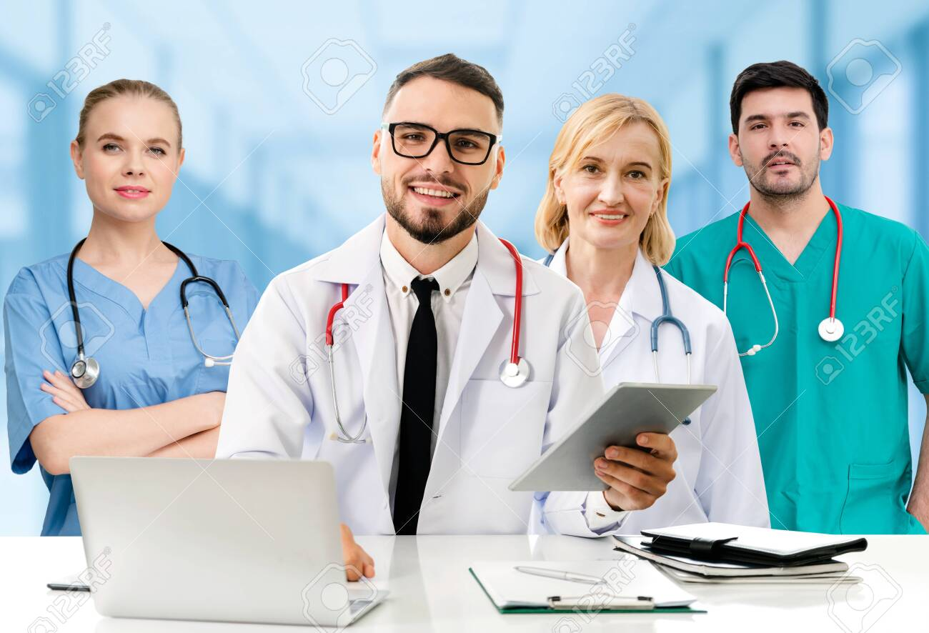 Healthcare people group. Professional doctor working in hospital office or clinic with other doctors, nurse and surgeon. Medical technology research institute and doctor staff service concept. - 133527168