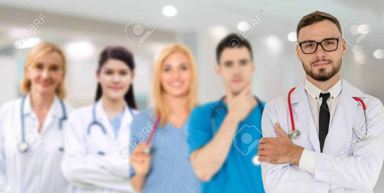 Healthcare people group. Professional doctor working in hospital office or clinic with other doctors, nurse and surgeon. Medical technology research institute and doctor staff service concept. - 133526810