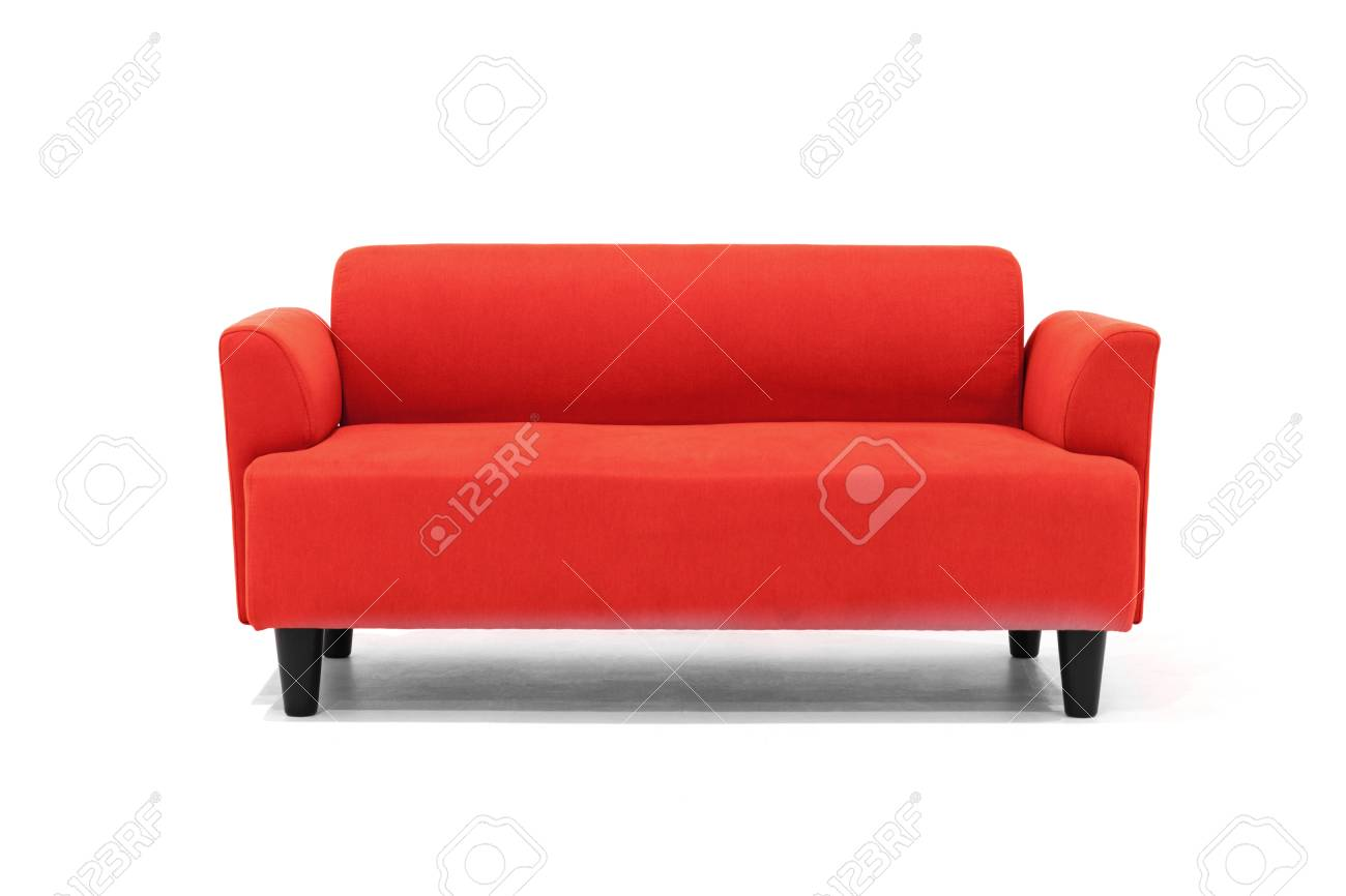 Red Scandinavian style contemporary sofa on white background..