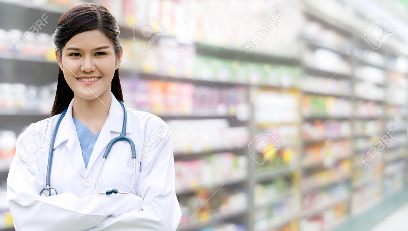Professional doctor or pharmacist at the hospital or pharmacy. Medical healthcare business and doctor service. - 121832474