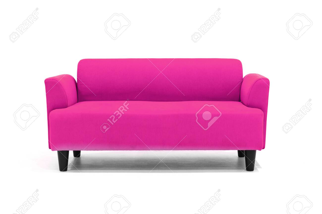 Pink Scandinavian Style Contemporary Sofa On White Background