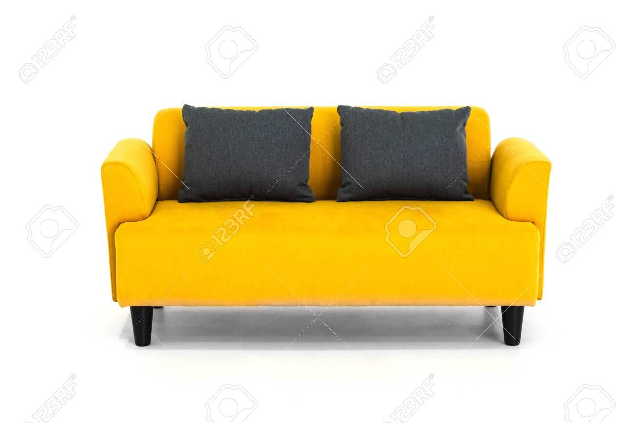 Yellow Scandinavian style contemporary sofa on white background..
