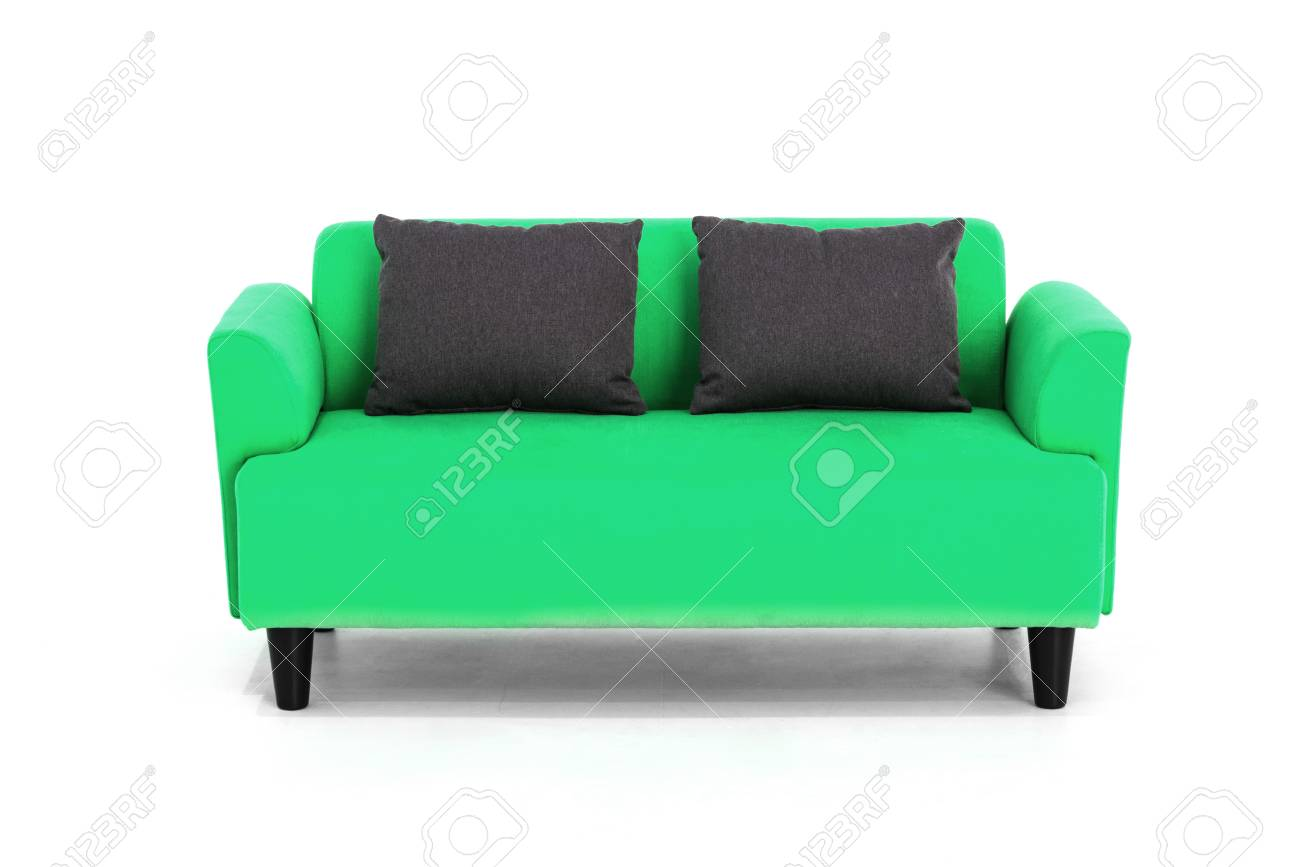 Green Scandinavian style contemporary sofa on white background..