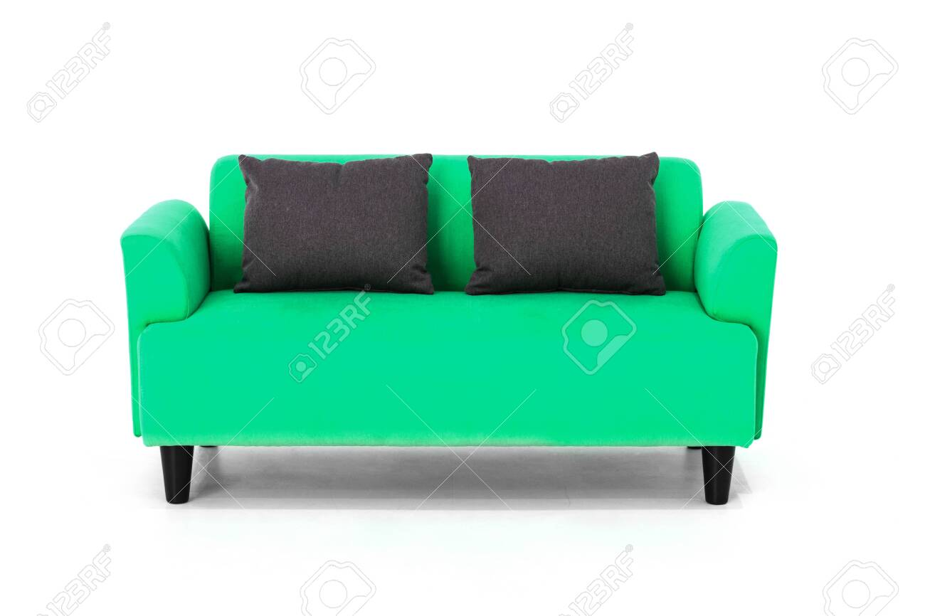 Green Scandinavian style contemporary sofa on white with modern..