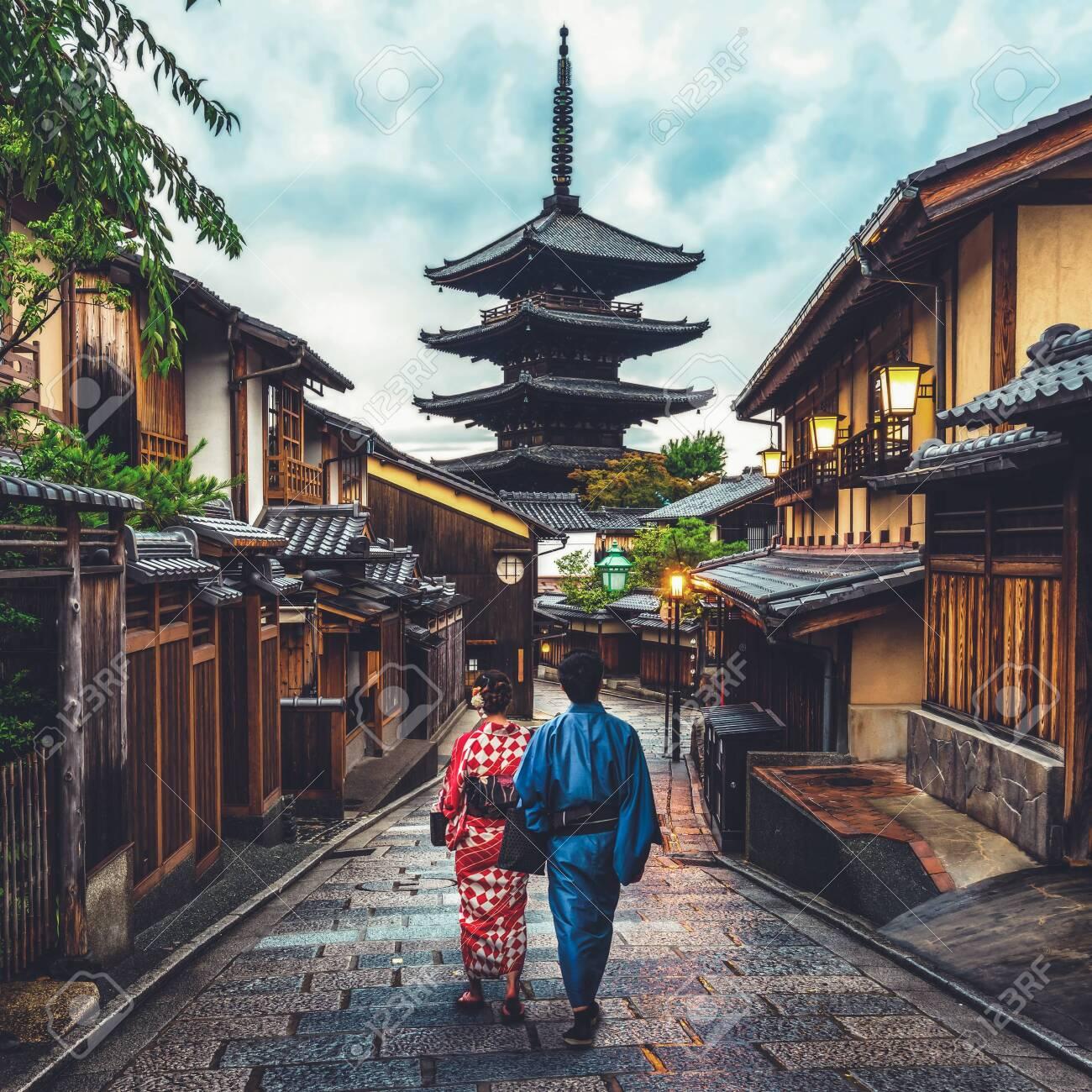 Kyoto, Japan Culture Travel - Asian traveler wearing traditional Japanese kimono walking in Higashiyama district in the old town of Kyoto, Japan. - 121169190
