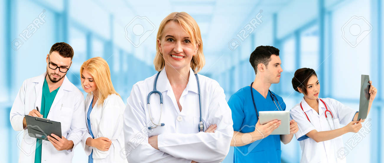 Healthcare people group. Professional doctor working in hospital office or clinic with other doctors, nurse and surgeon. Medical technology research institute and doctor staff service concept. - 121492047