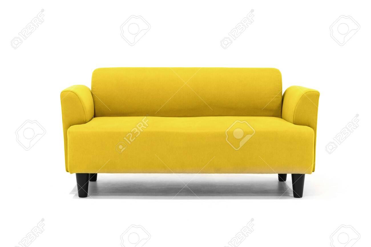Yellow Scandinavian Style Contemporary Sofa On White Background