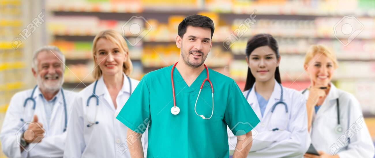 Healthcare people group. Professional doctor working in hospital office or clinic with other doctors, nurse and surgeon. Medical technology research institute and doctor staff service concept. - 126748039