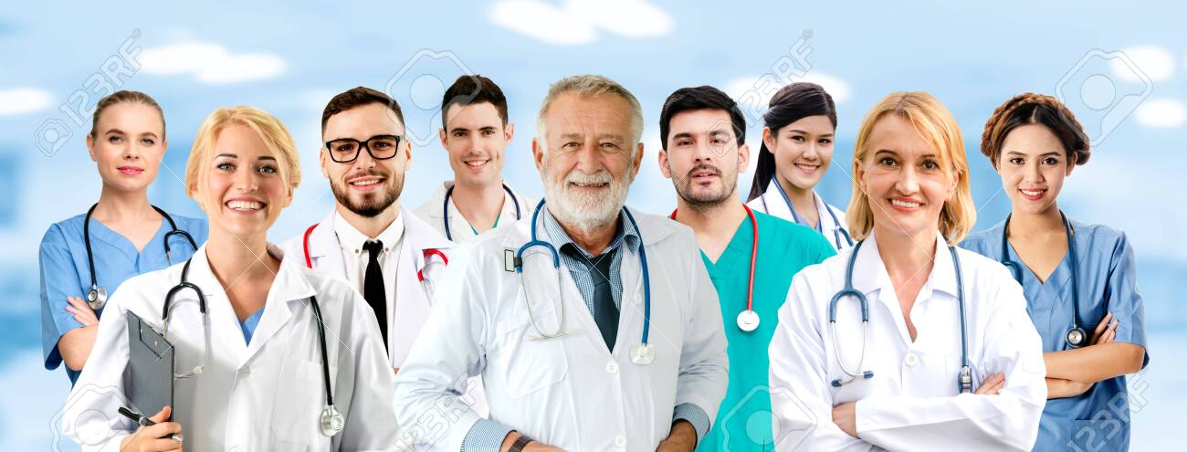 Healthcare people group. Professional doctor working in hospital office or clinic with other doctors, nurse and surgeon. Medical technology research institute and doctor staff service concept. - 126748054