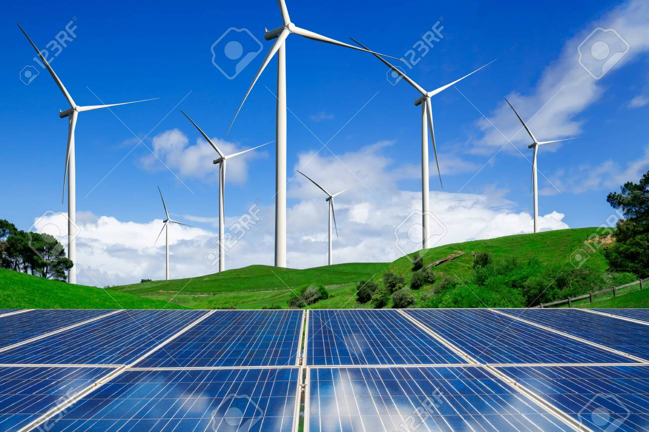 Solar energy panel photovoltaic cell and wind turbine farm power generator in nature landscape for production of renewable green energy is friendly industry. Clean sustainable development concept. - 126451807
