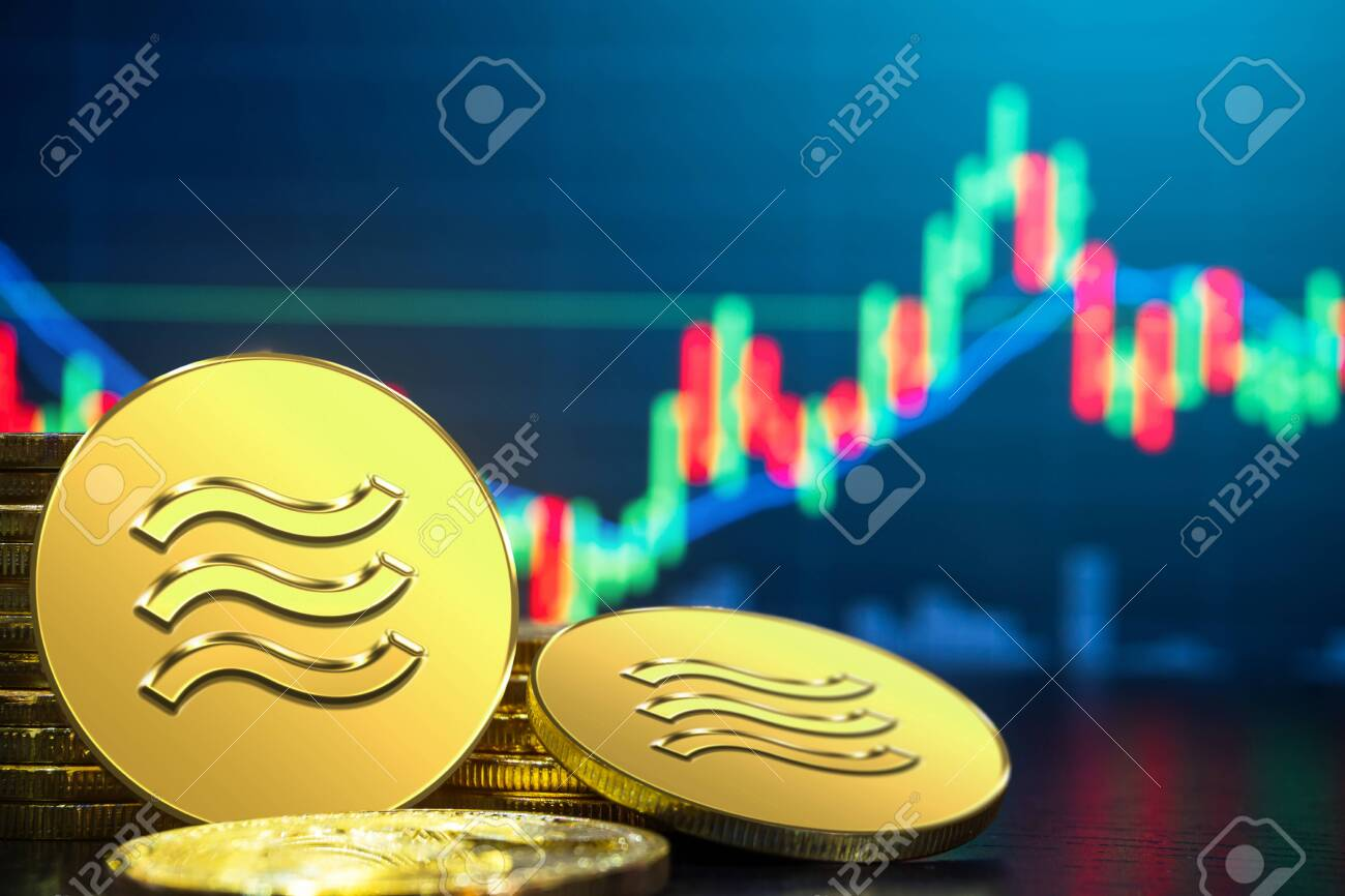 Libra cryptocurrency coin newly introduced to world digital money economy. Libra was reported to be used for electronic payment on many partner internet website. - 128481459