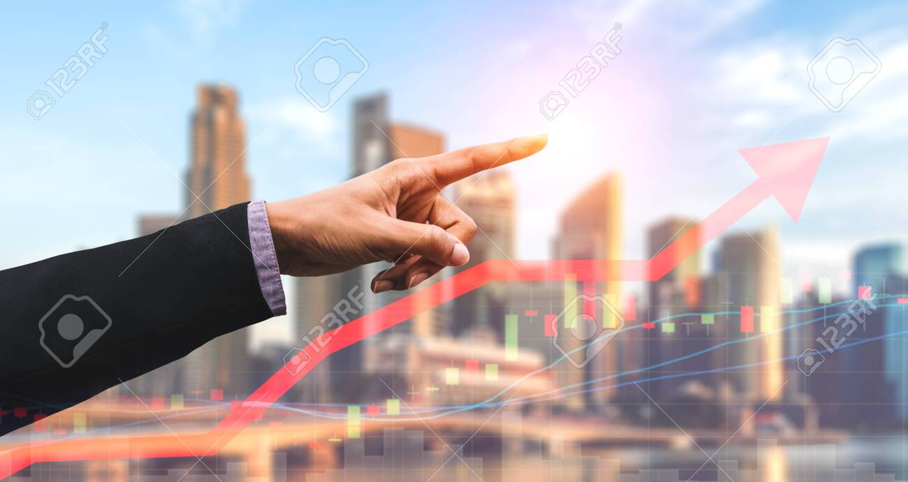Double Exposure Image of Business and Finance - Businessman with report chart up forward to financial profit growth of stock market investment. - 128713535
