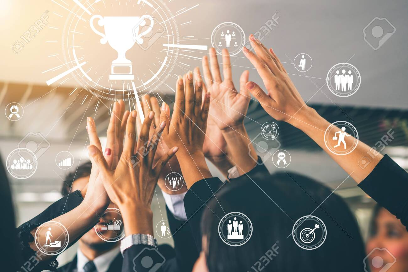 Achievement and Business Goal Success Concept - Creative business people with icon graphic interface showing employee reward giving for business success achievement. - 129781999