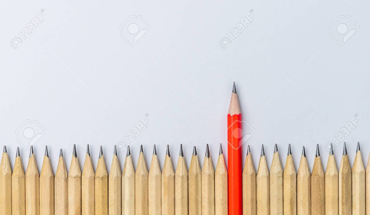 Different pencil standout from the others showing concept of unique business thinking different from the crowd and special one with leadership skill. - 130416193
