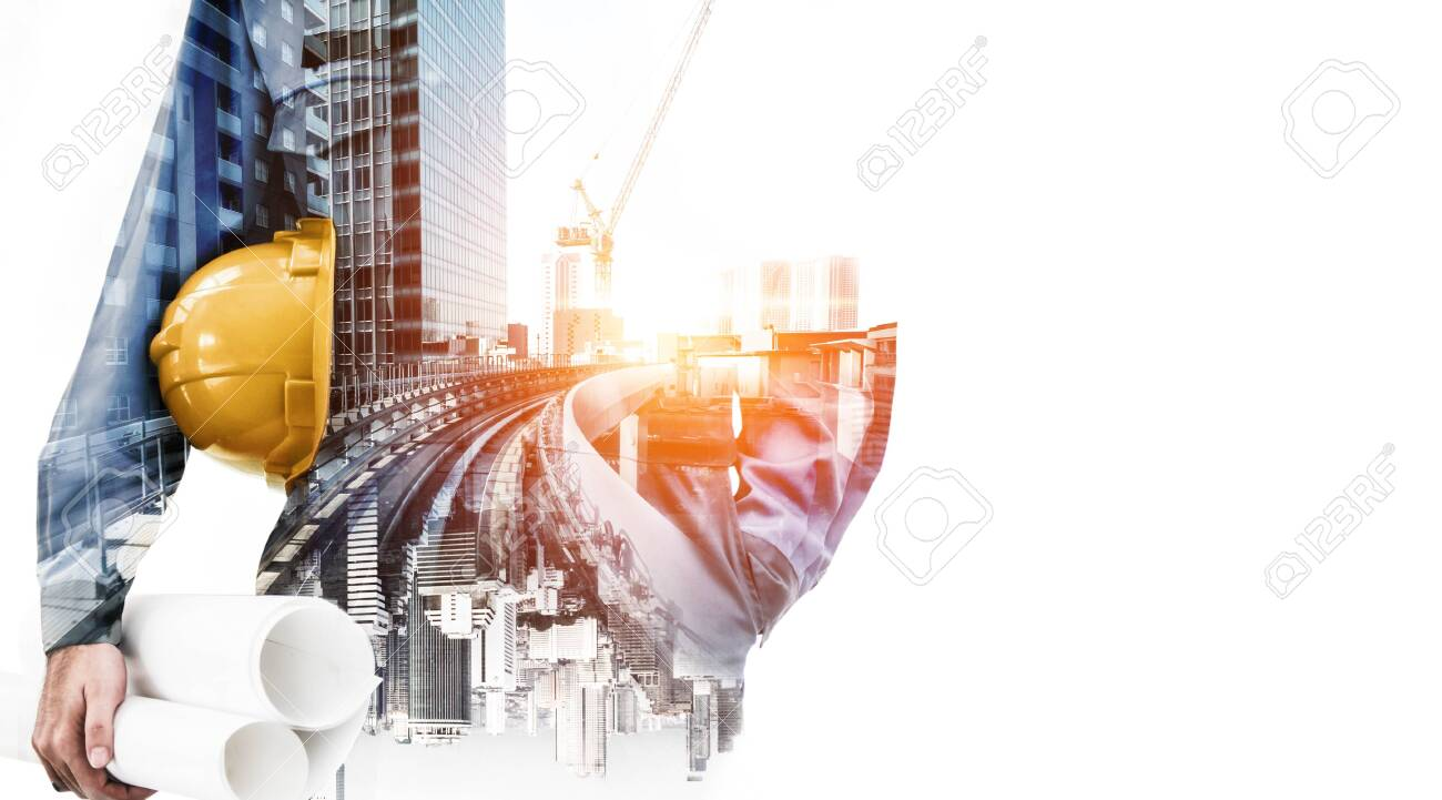 Future building construction engineering project concept with double exposure graphic design. Building engineer, architect people or construction worker working with modern civil equipment technology. - 132922379