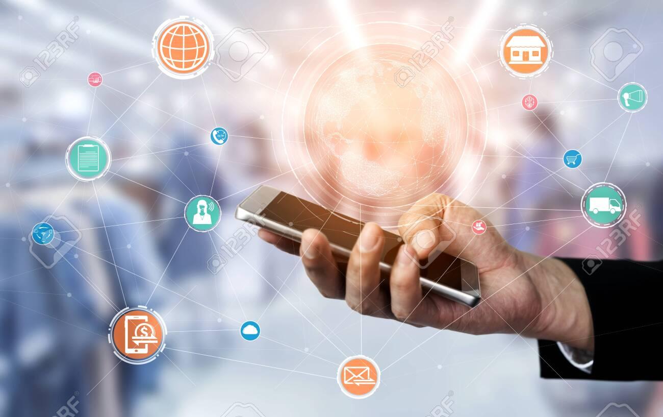Omni channel technology of online retail business. Multichannel marketing on social media network platform offer service of internet payment channel, online retail shopping and omni digital app. - 137968067