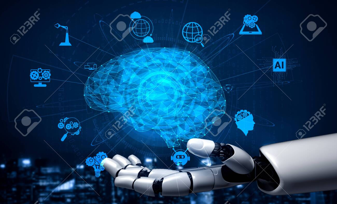 3D rendering artificial intelligence AI research of robot and cyborg development for future of people living. Digital data mining and machine learning technology design for computer brain. - 143179319