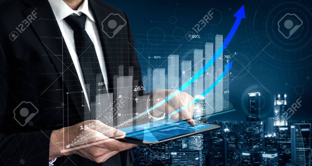 Double Exposure Image of Business and Finance - Businessman with report chart up forward to financial profit growth of stock market investment. - 145662442