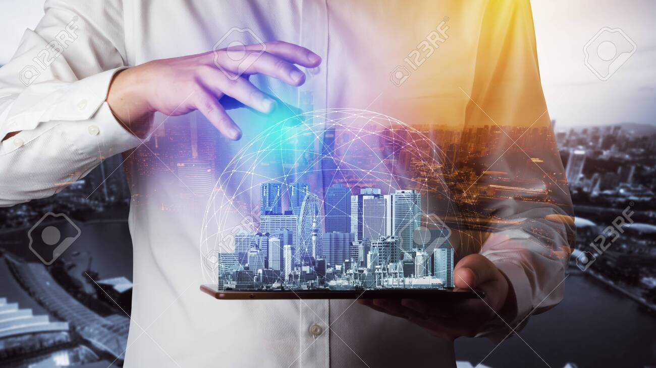 Modern creative telecommunication and internet network connect in smart city. Concept of 5G wireless digital connection and internet of things future. - 146298438
