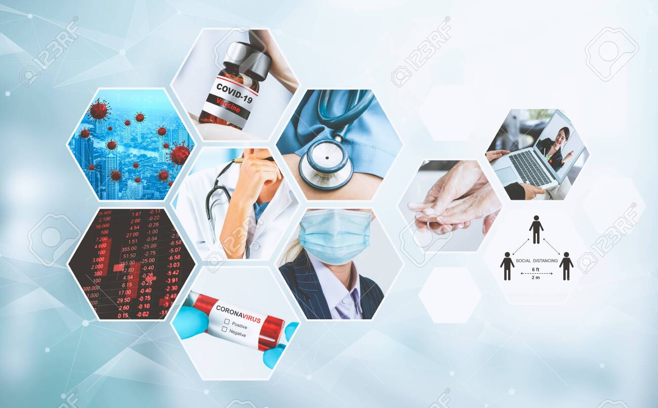Coronavirus COVID-19 news story summary photo set in concept of covid-19 effects to people life behavior, economy, social and medical service caused by outbreak of 2019 coronavirus disease. - 148753832