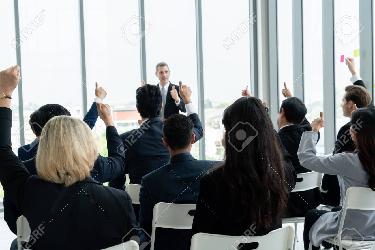 Group of business people meeting in a seminar conference - 150825493