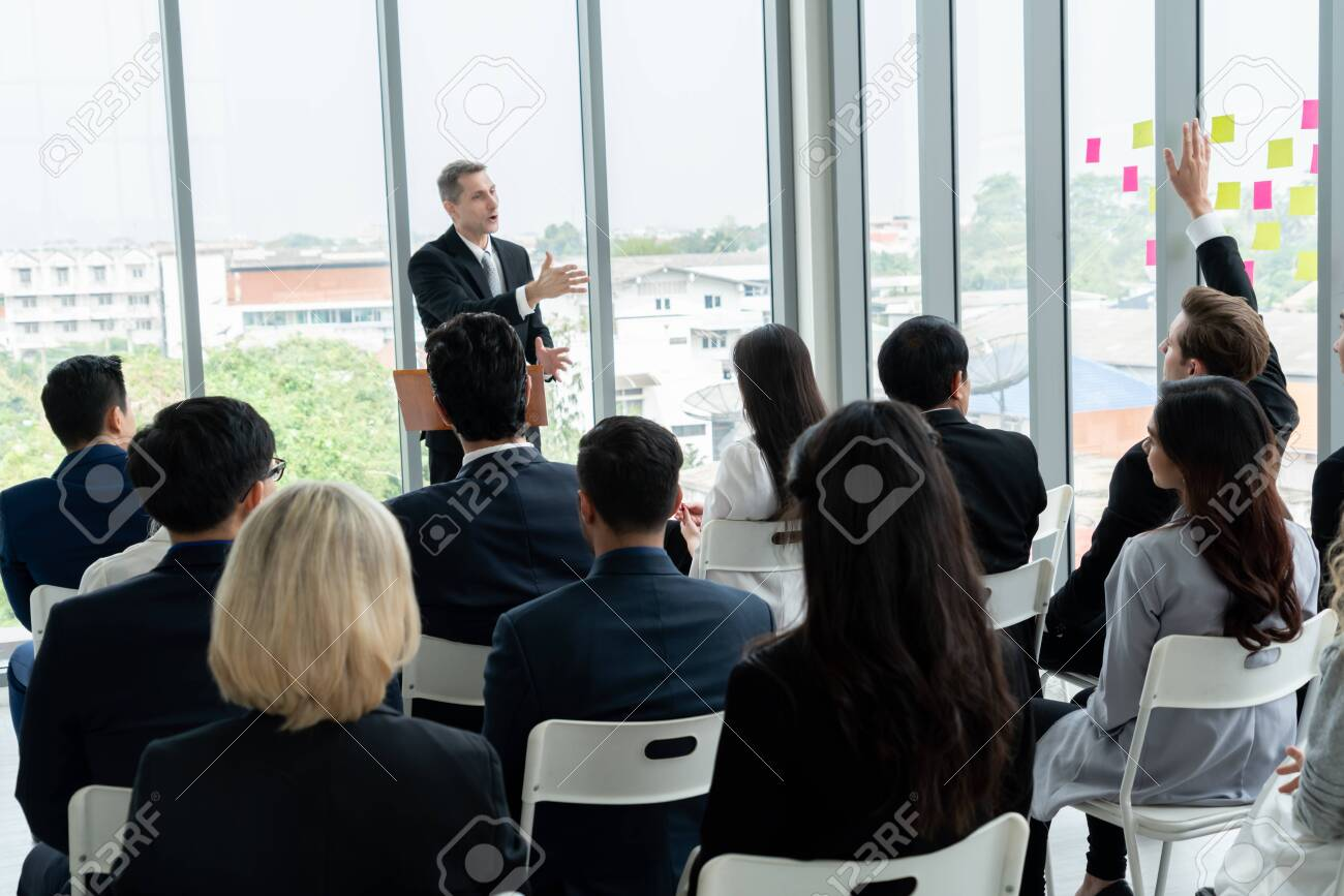 Group of business people meeting in a seminar conference - 150825346