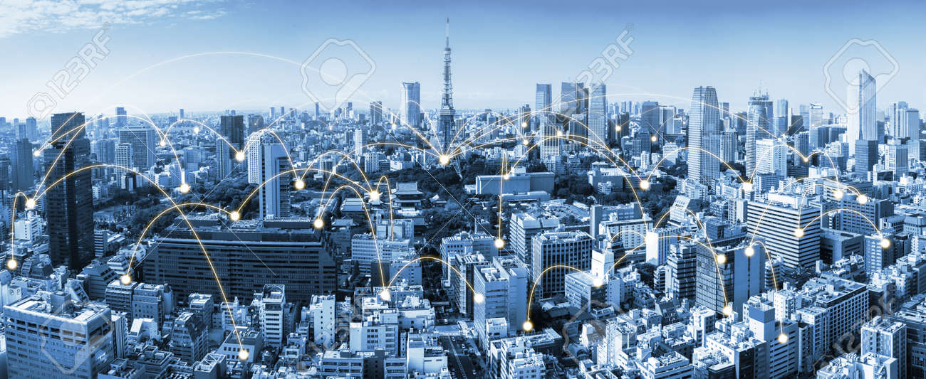 The modern creative communication and internet network connect in smart city - 151276414