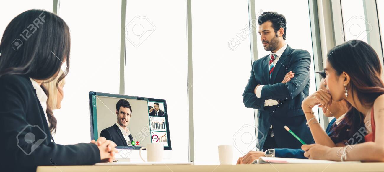 Video call group business people meeting on virtual workplace or remote office. Telework conference call using smart video technology to communicate colleague in professional corporate business. - 152096844