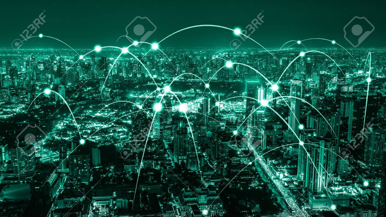 The modern creative communication and internet network connect in smart city . Concept of 5G wireless digital connection and internet of things future. - 152122676
