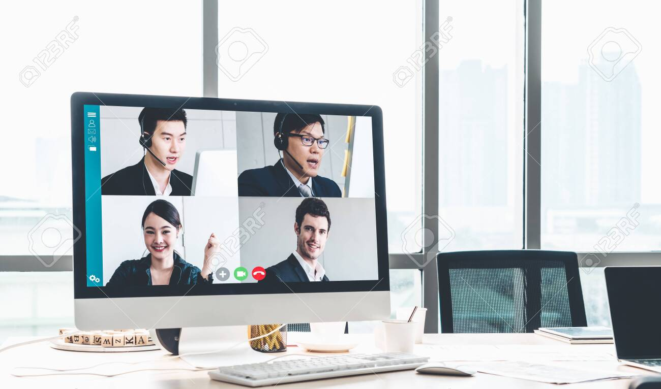 Video call business people meeting on virtual workplace or remote office. Telework conference call using smart video technology to communicate colleague in professional corporate business. - 152122756