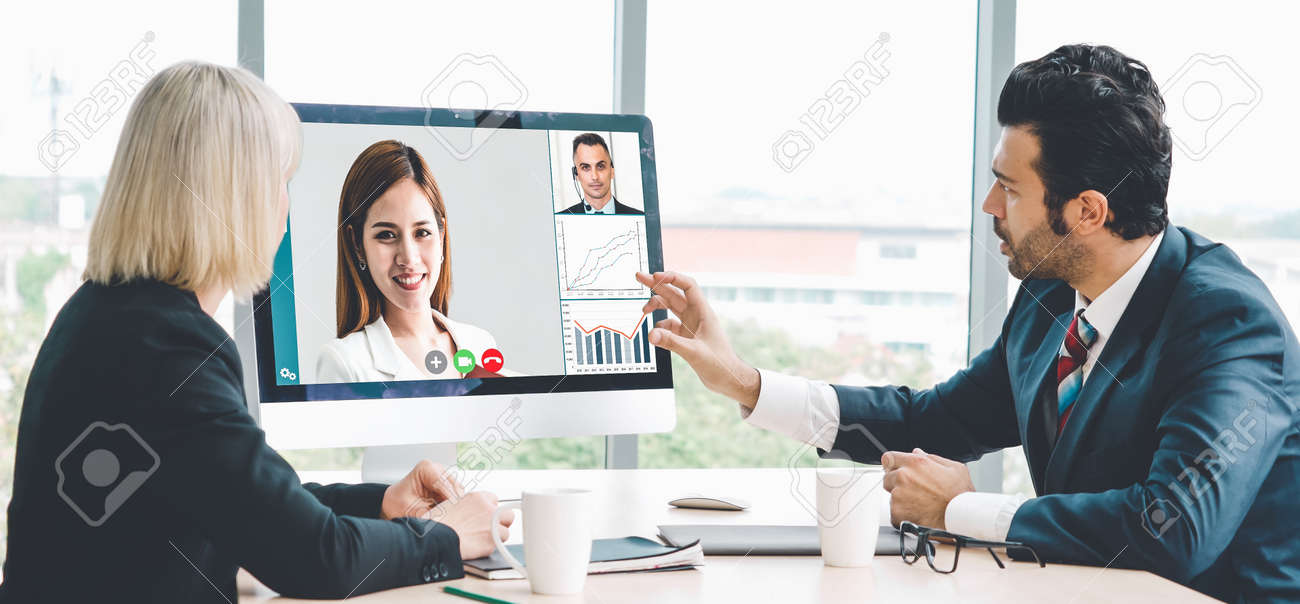 Video call group business people meeting on virtual workplace or remote office. Telework conference call using smart video technology to communicate colleague in professional corporate business. - 155577178
